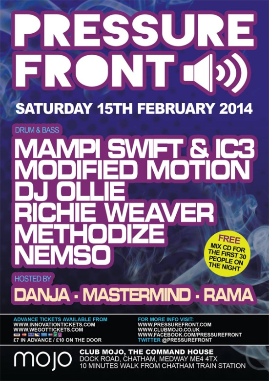 PRESSURE FRONT >> Mampi Swift | IC3 | Modified Motion | DJ Ollie | Richie Weaver & more