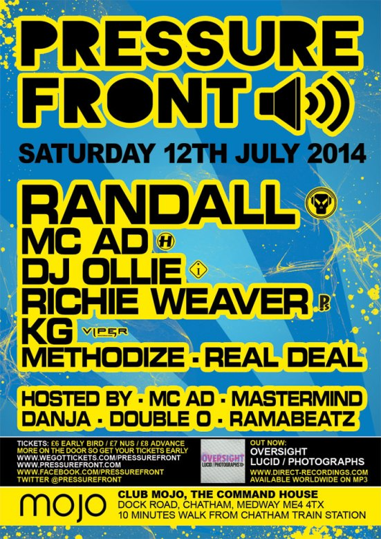 Pressure Front - 12th July with Randall, MC AD, DJ Ollie, KG & more