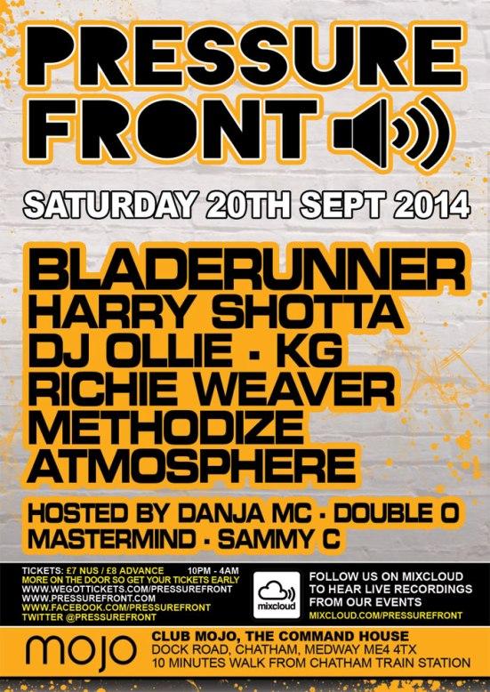 Pressure Front - 20th September with Bladerunner, Harry Shotta, DJ Ollie, KG & more