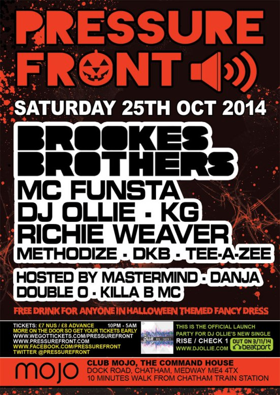 Pressure Front - 25th October with Brookes Brothers, Funsta, DJ Ollie, KG & more